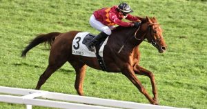 Folle Passion winning the Prix Sainte Marguerite